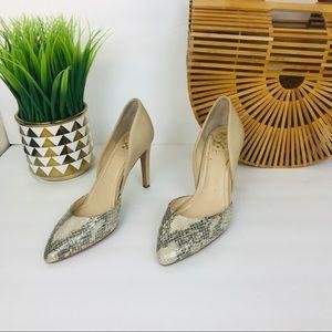 Vince Camuto SnakeSkin Cream Pointed Toe Heels